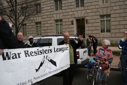 War Resisters League leads off procession to IRS.